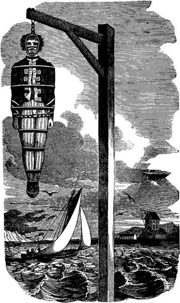 Hanging of William Kidd (The Pirates Own Book, Charles Ellms)